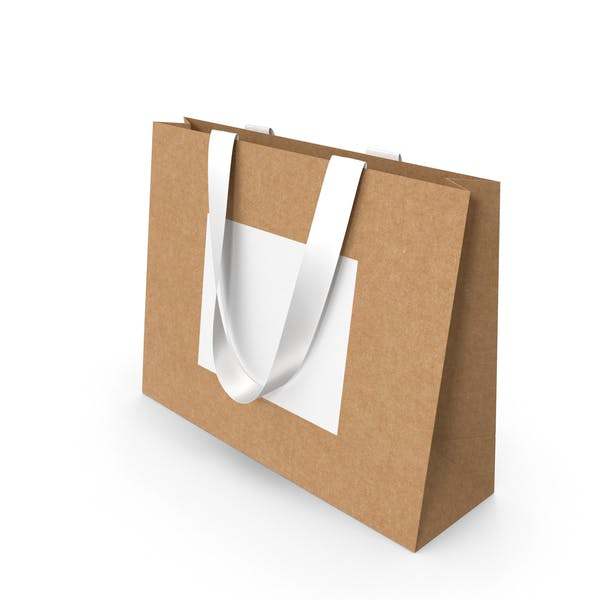 Ремесло и белый бумажный мешок с белыми ручками ленты