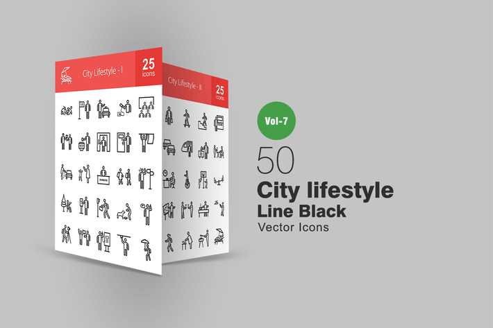 Thumbnail for 50 City Lifestyle Line Icons
