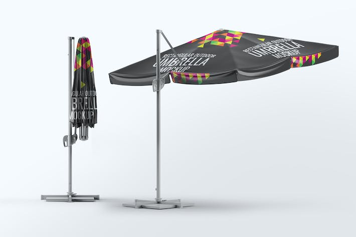Thumbnail for Rectangular Outdoor Umbrella Mock-Up