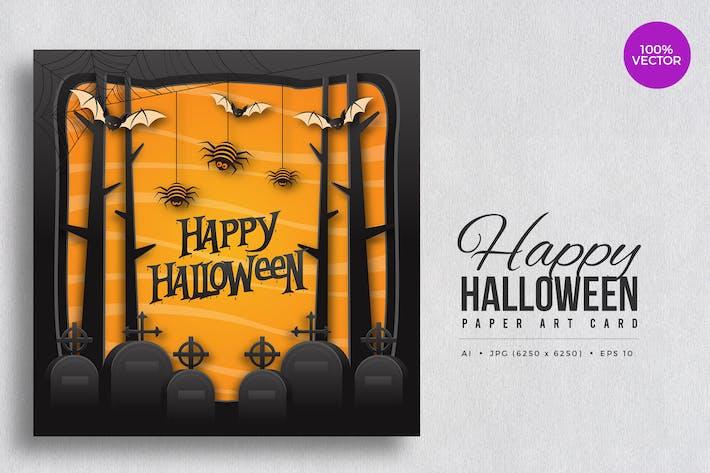 Thumbnail for Happy Halloween Paper Art Vector Card Vol.8