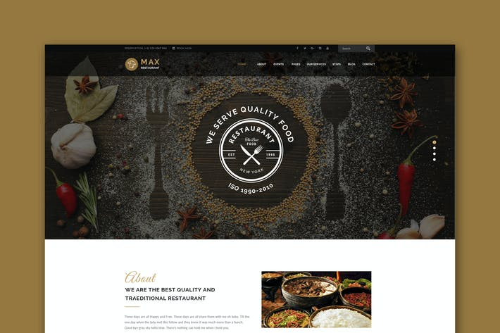 Thumbnail for Max Restaurant - Responsive HTML Template