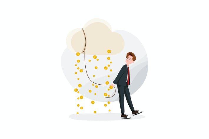Thumbnail for Businessman, cloud and money rain Vector