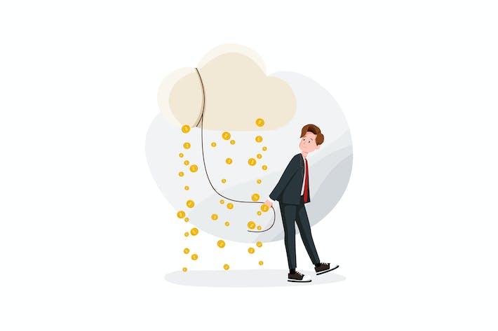 Thumbnail for Geschäftsmann, Wolke und Geld regen Vektor
