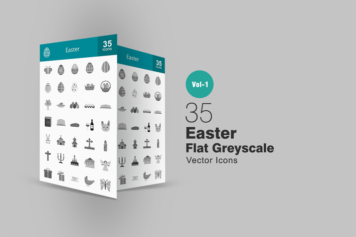 Thumbnail for 35 Easter Greyscale Icons