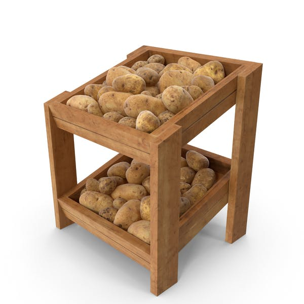 Wooden Merchandise Shelf with Potatoes