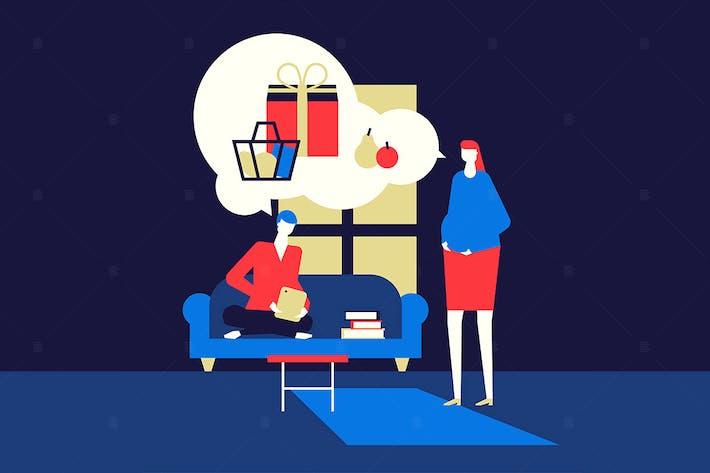 Thumbnail for Shopping online - flat design style illustration