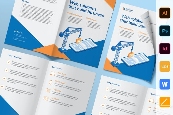 Thumbnail for Web And Mobile App Development Brochure Bifold