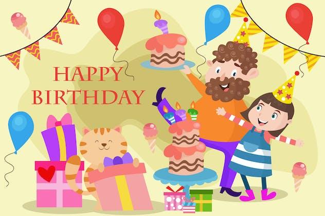 Parents Celebrating Her Daughter Birthday - Vector