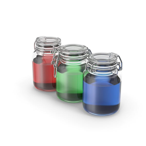 Thumbnail for Glass jars with RGB colored liquids
