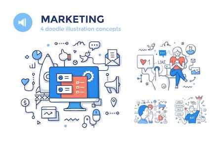 4 Marketing Spot Illustrations Set