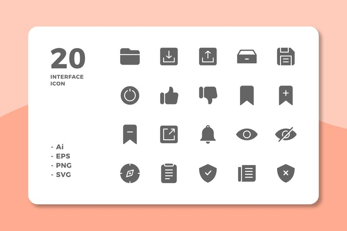 Thumbnail for 20 Interface Icons Vol.3 (Solid)