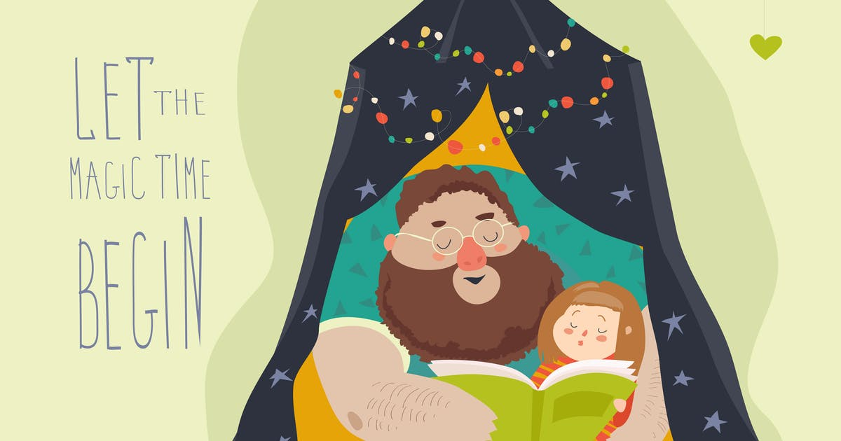 Download Father reading a book to his daughter. Vector by masastarus