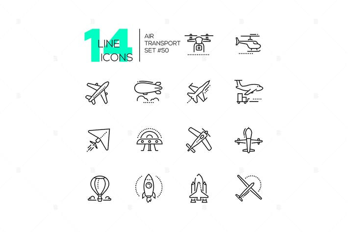 Thumbnail for Air transport - thin line design icons set