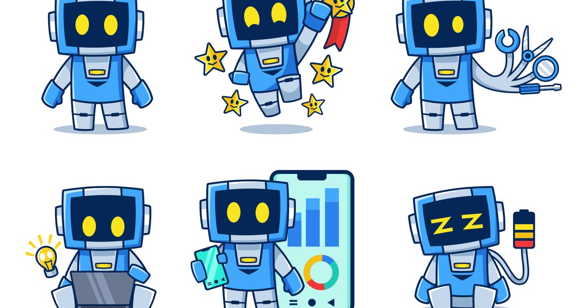 Download Blue Robot Cartoon collection set by Rexcanor