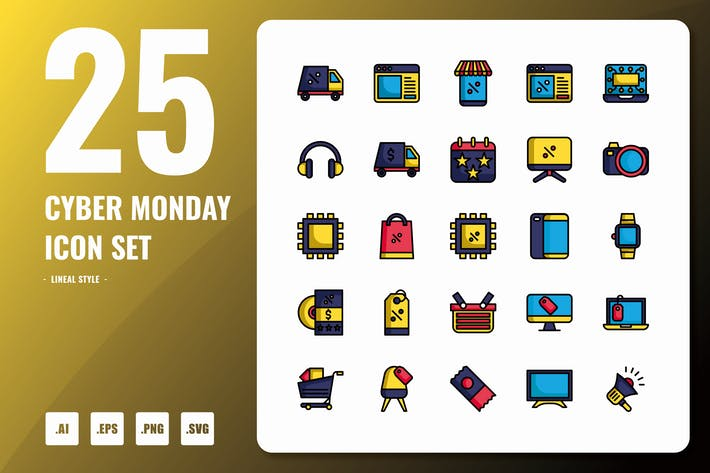 Thumbnail for Cyber Monday Lineal Icons