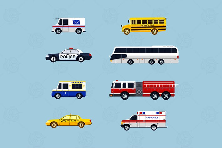 Thumbnail for Special Vehicles - moderne Vektor flache Icons Set