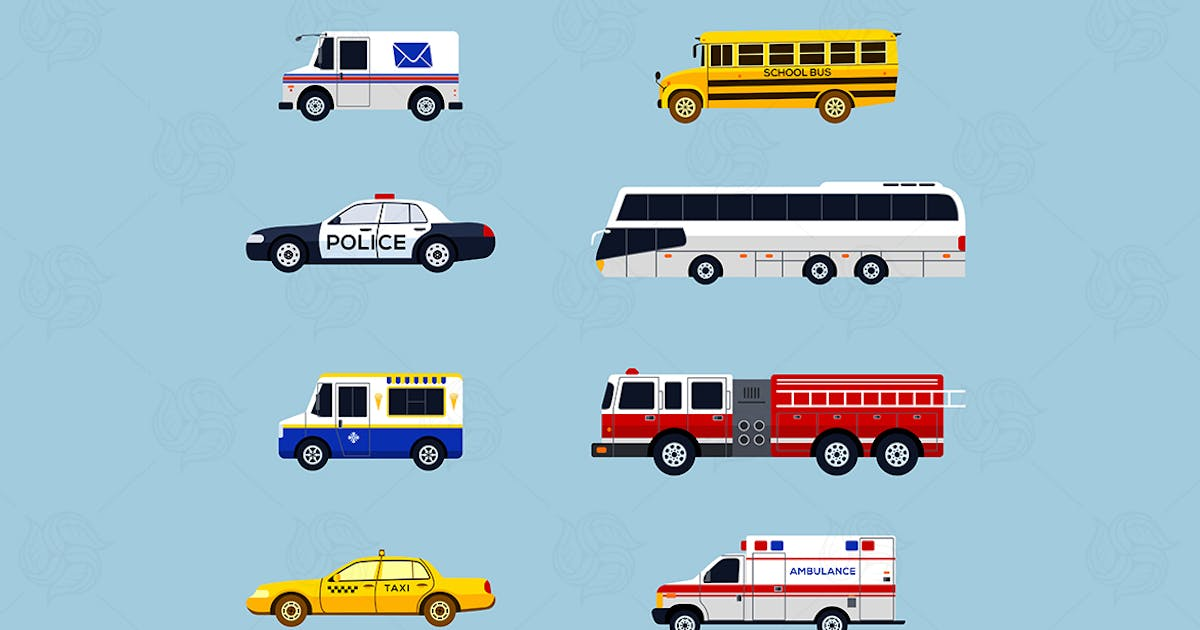 Download Special Vehicles - modern vector flat icons set by BoykoPictures