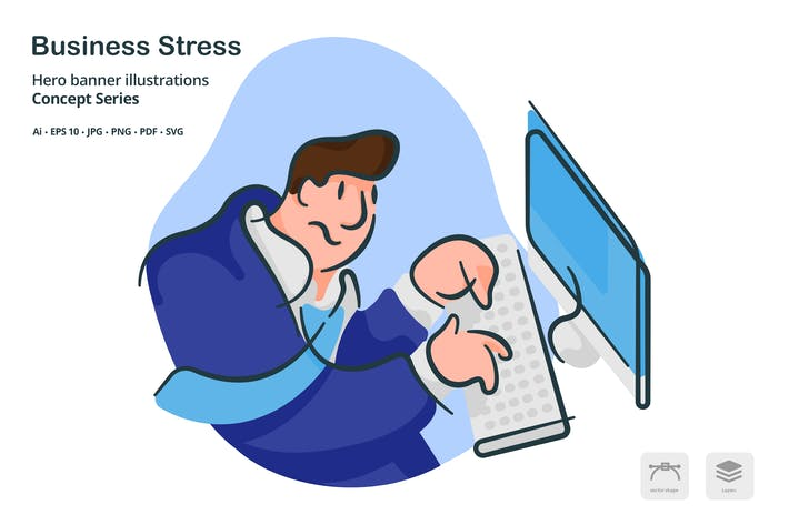Cover Image For Business Stress Vector Illustration