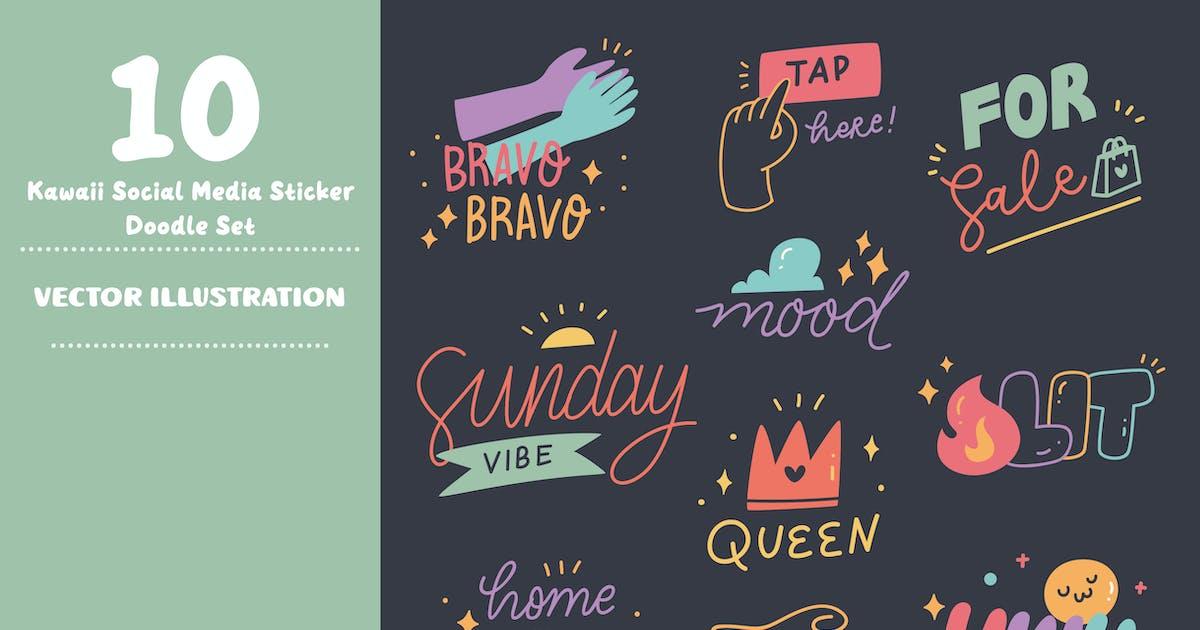 Download Kawaii Social Media Stickers Doodle Set by GoDoodle