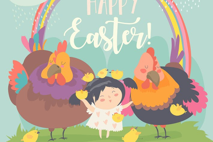 Thumbnail for Cute little girl with funny chickens. Happy Easter