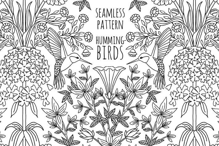 Thumbnail for Seamless Pattern With Hummingbirds and Flowers