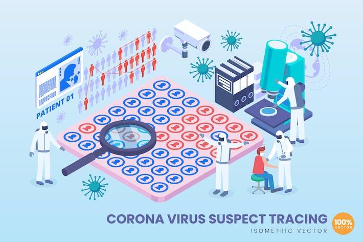 Thumbnail for Isometrischer Corona-Virenverdächtiger VerfolgungsVektor