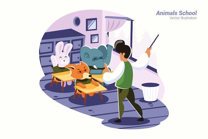 Animals School - Vector Illustration