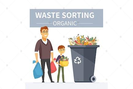 Recycling von organischen Abfällen - Illustration