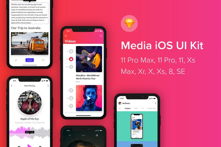 Thumbnail for Media iOS UI Kit (Sketch)