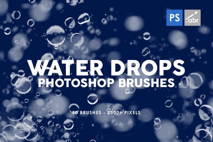 50 Water Drops Photoshop Stamp Brushes