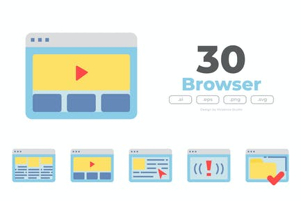 30 Browser Icons - FLAT