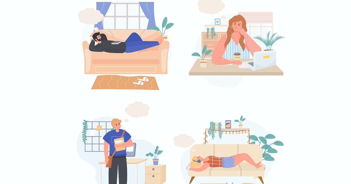 Download Dreaming People Concept Scenes Set by DesignSells
