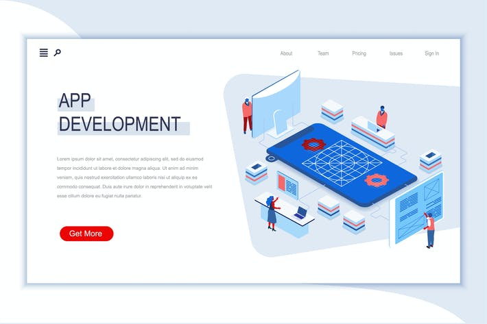App Development Isometric Banner Flat Concept