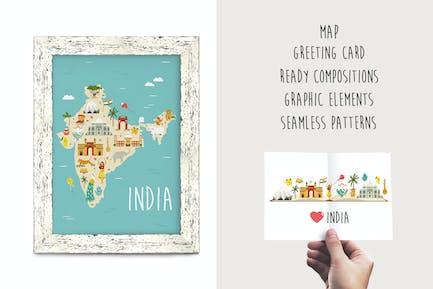 Indien-Clipart-Karte