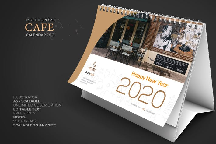 2020 Cafe - Kaffee Kalender Schreibtisch Pro