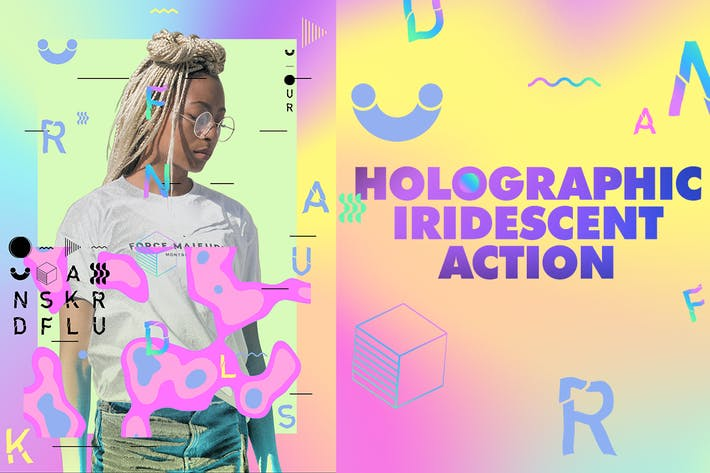 Thumbnail for Holographic Iridescent Photoshop Action