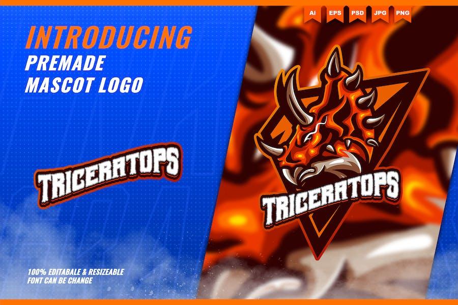 Triceratops dinosaurs - Mascot Esport Logo Templat