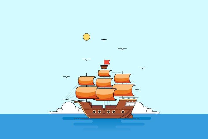 Thumbnail for Flat Vektor Piratenschiff Cartoon