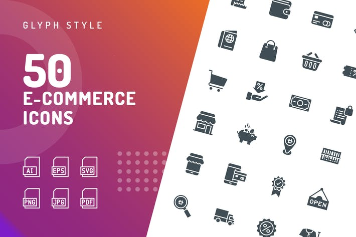 Thumbnail for Ecommerce Glyph Icons