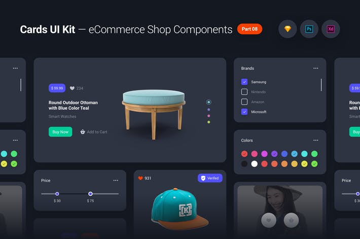Thumbnail for Cards UI Kit - eCommerce Shop Widgets & Components
