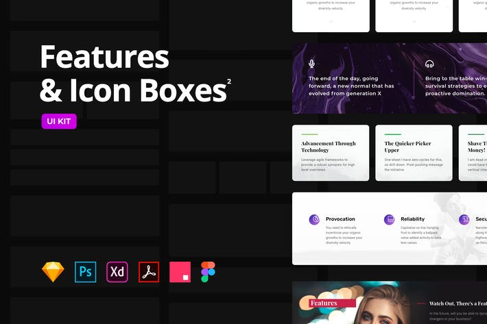 Features & Icon Boxes Set 2 – Multi-Format UI KIT
