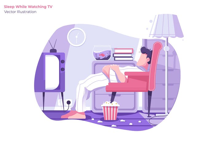 Thumbnail for Sleeping While Watching TV - Vector Illustration