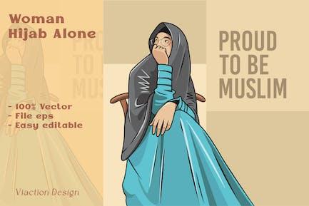 DV - Women Hijab Alone Illustration