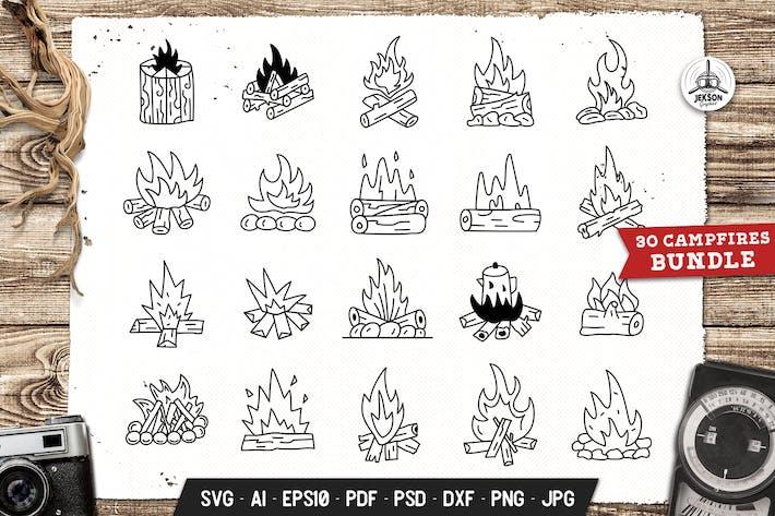 Thumbnail for Campfires Set Adventure Line Art Vector Graphic