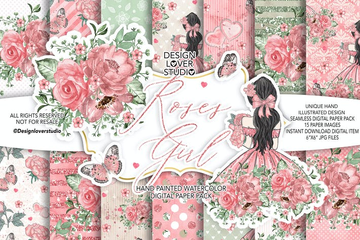 Thumbnail for Roses Girl digital paper pack