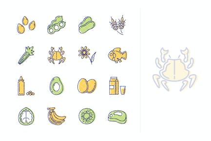 Íconos de Alérgenos Alimenticios - Serie Esquema
