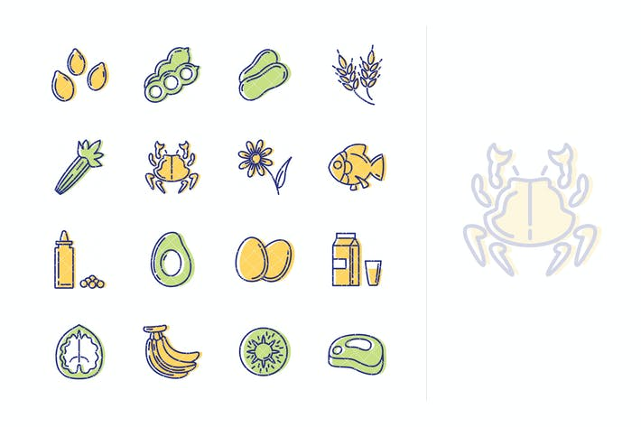 Thumbnail for Food Allergens Icons - Outline Series