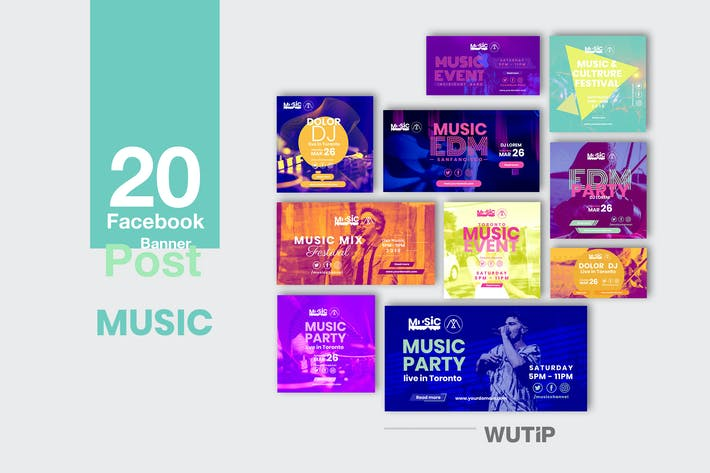 Cover Image For 20 Facebook Post Banner - Music