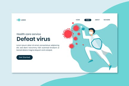 Defeat Virus Landing Page Template