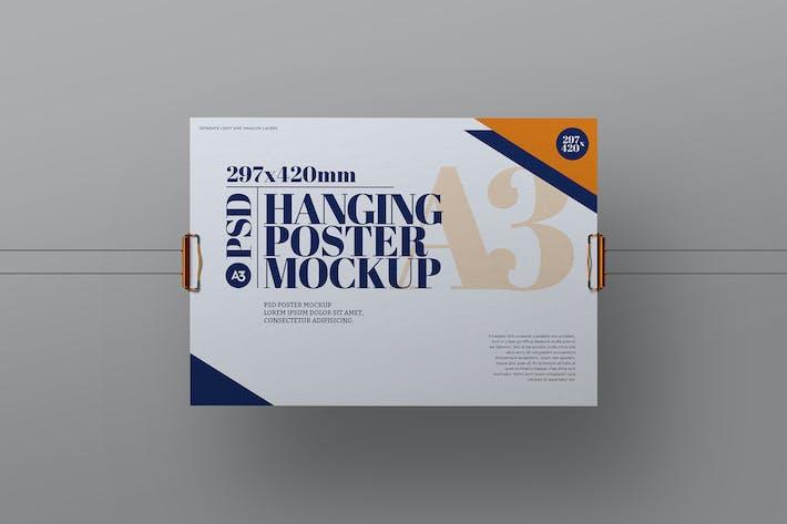 Hanging Mockup A3 Poster Clipboard Clip Landscape
